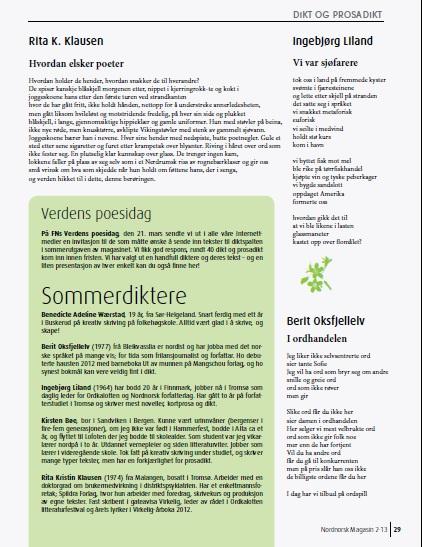Utvalgte dikt i sommermagasinet 2013