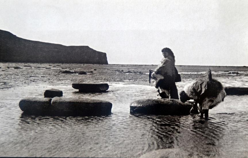 Selk'nam samler mat på stranda. Foto: Charles Wellington Furlong, 1908. Utsnitt av postkort fra Pehúen Editores.