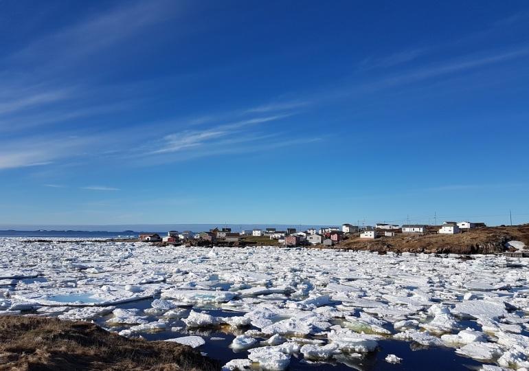 Vind og strøm fører isen fra Grønland inn i buktene på Fogo, Newfoundland, Canada.